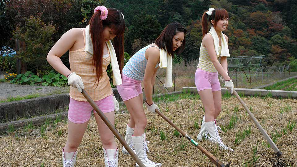 Sweet girls are having fun in the countryside
